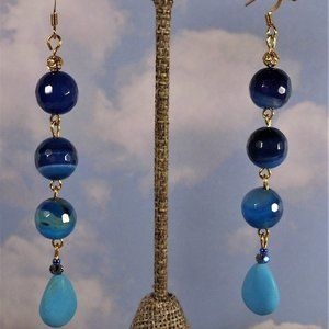natural agate stone drop earrings